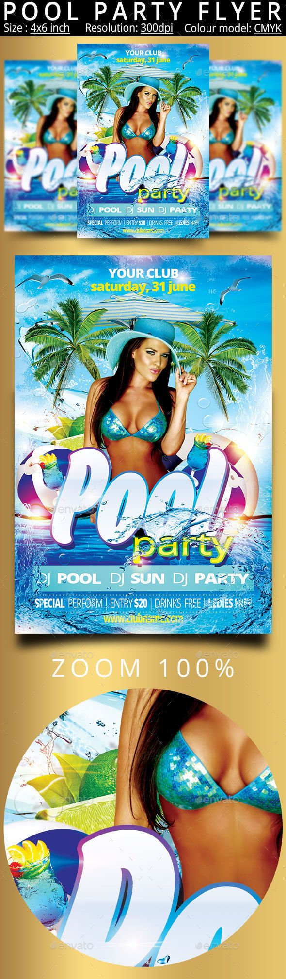 Pool Party Flyer Template PSD. Download here: http://graphicriver.net/item/pool-party-flyer/14918529?ref=ksioks