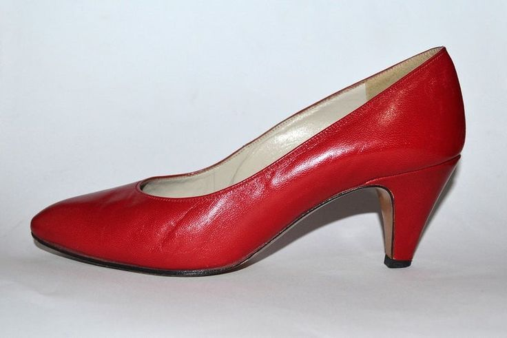 Vintage Red Pumps Kitten Heels Low Heel Shoes Leather Eur 34 34 5 Us 4 4 5
