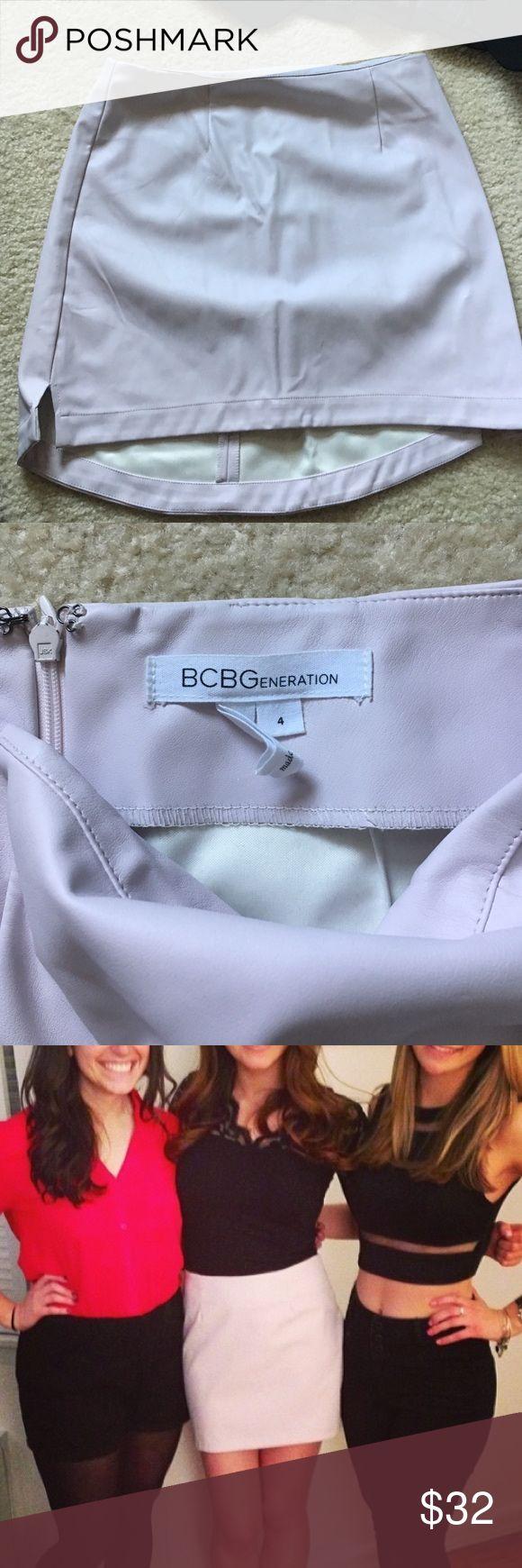 BCBG faux leather light pink skirt. BCBG faux leather light pink skirt, slightly high low for coverage with zipper on back. BCBGeneration Skirts Mini