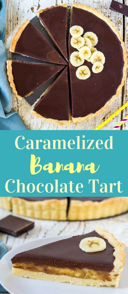 Recipe for simple tart with caramelized banana filling and dark chocolate ganache #bananovytartscokoladou #caramelizedbananachocolatetart #bananarecipe #recipe #bananovytartrecept #bananrecept #simplecaramelizedbananarecipe #bananachocolaterecipe #banancokoladarecept #karamelizovanybananrecept #tartrecept