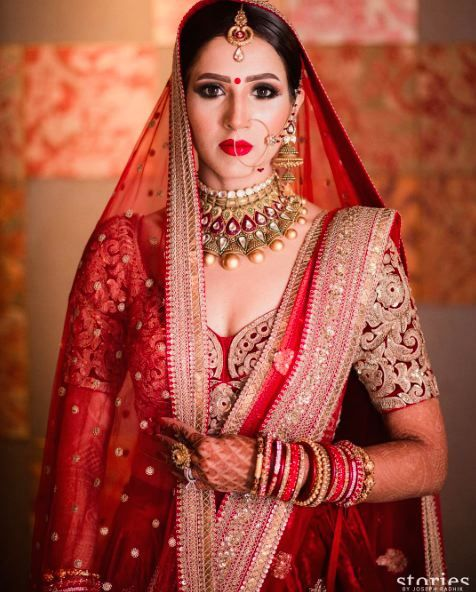 Sophisticated and Classy - the perfect Indian Bridal look, Choose Crimson Red this wedding season!