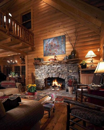 Cabin with a fireplace