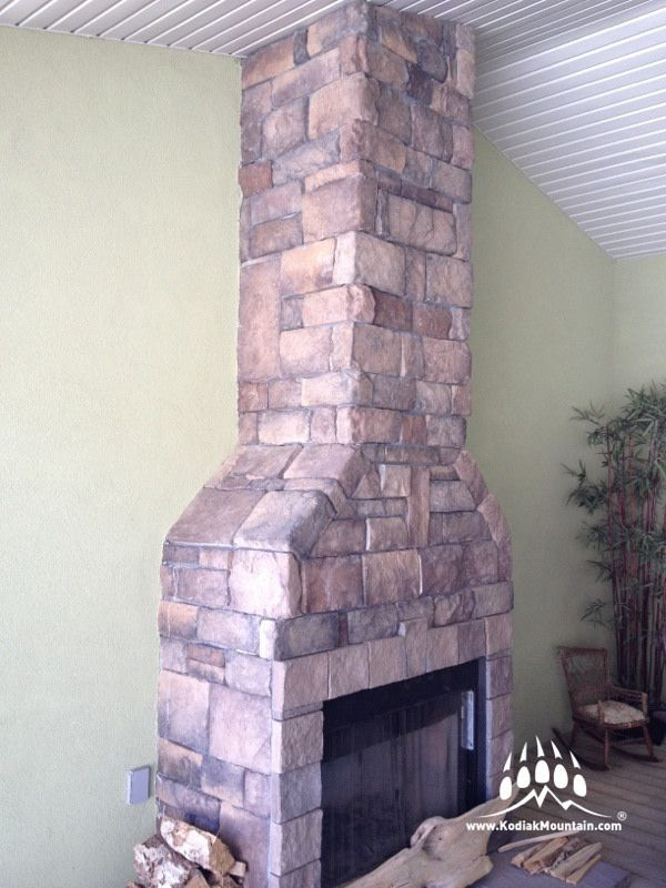 RR Masonry did a great job on this new fireplace for Palmer Homes in Taber! Selection: Southern Hackett in Almond Buff. www.KodiakMountain.com