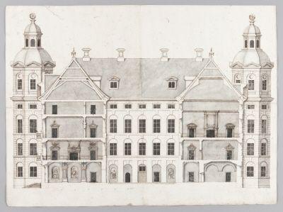 Byggnadsritning, tvärsektion av Skokloster slotts gårdsfasad, från 1650-talet Construction plan Skokloster Castle, 1650's