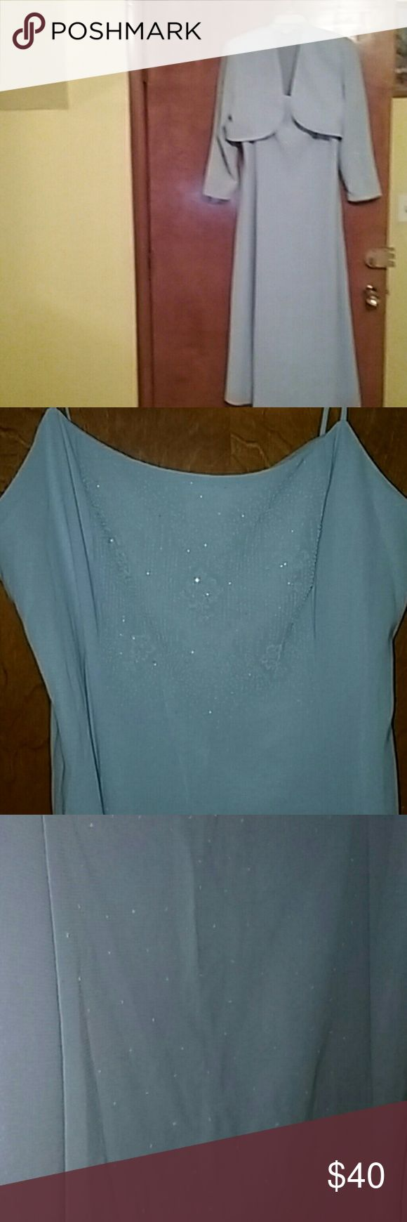 Light blue dress with jacket women Size 18. She fancy!! Light blue dress with icy look design. Great for any season! Size 18. Look fashionable in your figure! Dress is spaghetti string with a long sleeve jacket. Sally USA Dresses Long Sleeve