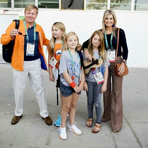 On August 17, 2016, King Willem-Alexander, Queen Maxima with their daughters Princess Amalia, Princess Alexia and Princess Ariane of The Netherlands attended the Jumping competition on twelfth day of the Rio 2016 Olympic Games at the Olympic Equestrian Centre in Rio de Janeiro, Brazil.