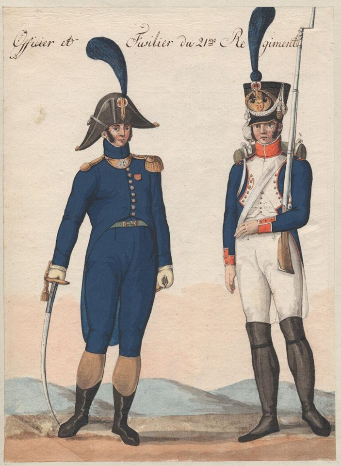 France - Officer and Fusilier of the 21st Ligne Regt.
