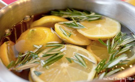 Simmer water, a sliced lemon and some fresh herbs to make your house smell great.