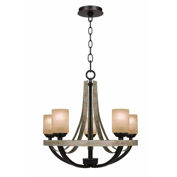 hampton bay croft 5light olive stone chandelier
