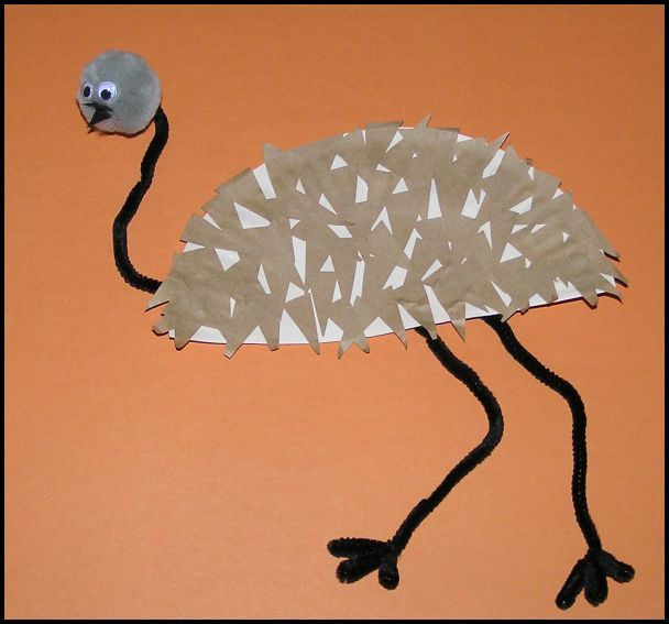 emu paper plate craft-fine motor practice with cutting