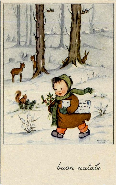 Bosisio -  Childrens Xmas Complete set of 6 postcards PC Circa 1930 Italy