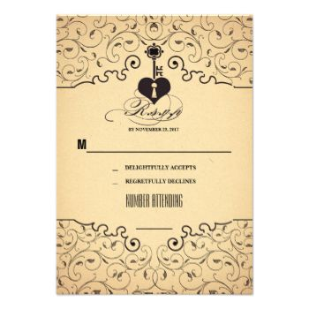 Beautiful vintage wedding reply card with key and heart. Decorated with beautiful flourishes, swirls and calligraphy, bold script typography. #key #rsvp #vintage #wedding #rsvp #heart #key #rsvp #old #wedding #reply #heart #lock #wedding #response #flourishes #rsvp swirls