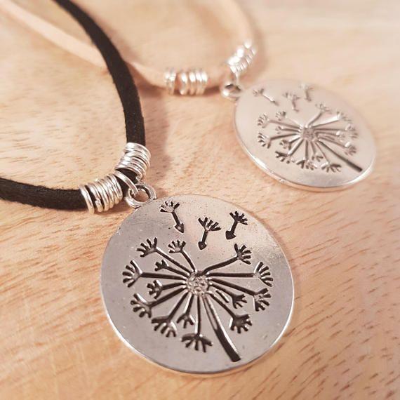 Dandelion Pendant Faux Leather Necklace silver pendant