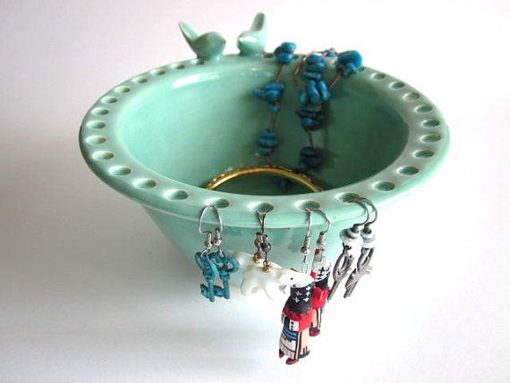Jewelry bowl, Earring holder, Mint green, lovebirds, pottery bowl, Handmade ceramic pottery