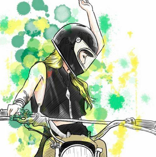 Bike girls by Chris (instagram starvin_artist28) #illustration #bikegirls #motorcyclesgirls | caferacerpasion.com
