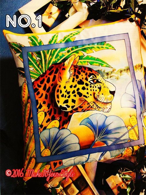 Leopard-tiger-jungle-forrest animals-Multi colour Hand painted silk decorative Pillow case / cushion case - pinned by pin4etsy.com