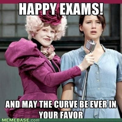 Bahaha:   Because finals week and the Hunger Games really are the same thing in college