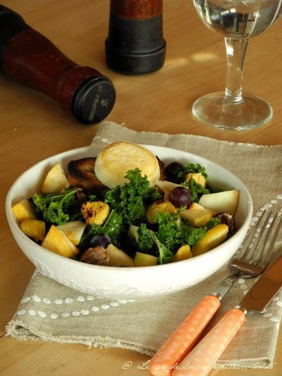 Salade de chou kale au ch vre chaud et aux fruits d - Cuisiner chataignes fraiches ...