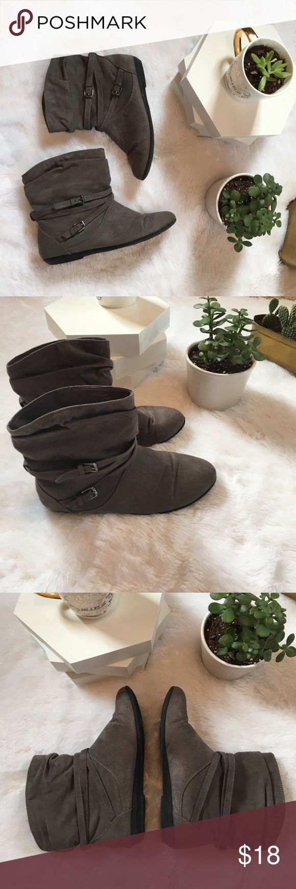 Grey Suede Booties, Short Ankle Boots, Buckle Adorable grey booties! 2 side buckles and accent straps on each boot! Slip on. Flexible fabric around the ankles. Hard toe for durability. Size 7 Women's. Only worn twice! Great condition. Lower East Side Shoes Ankle Boots & Booties