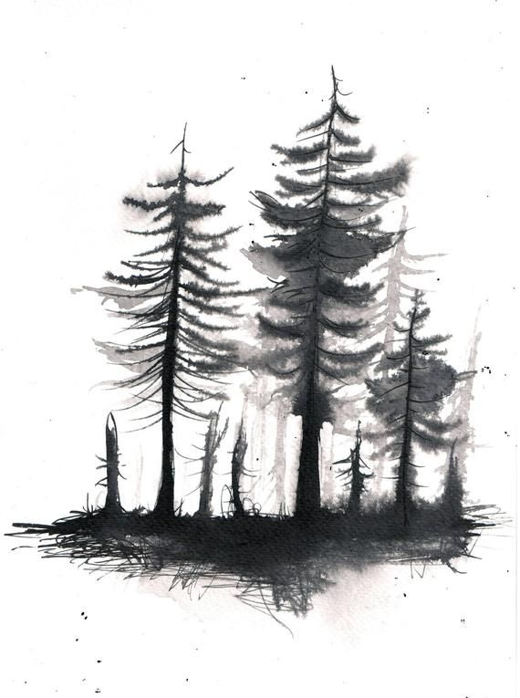 Black And White Forest Painting Sketch Landscape Painting With Watercolor Inks Size A4 8 3 X 11 6 Inches 21x29 5 Forest Painting Black Tree Forest Sketch