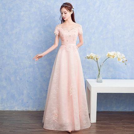 ドレス-ロング 半袖ふんわりパーティードレス 結婚式二次会 発表会式典演奏会(2)
