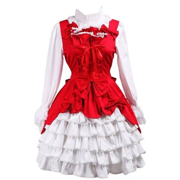 Partiss Women's Ruffles Bow Sweet Vintage Victorian Classic Lolita... ($55) ❤ liked on Polyvore featuring dresses, vintage victorian dress, frilly dresses, bow dress, vintage ruffle dress and red ruffle dress