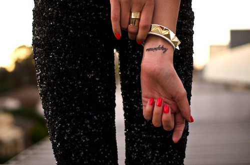 happiness: Wrist Tattoo, Fashion, Style, Happy, Sequins Pants, A Tattoo, Nails, Black Pants, Ink