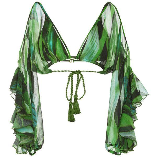 Agua de Coco     Folhas Draped Bikini Top (£645) ❤ liked on Polyvore featuring swimwear, bikinis, bikini tops, tops, bikini, green, swimsuits, bathing suits bikini, green swimsuit and palm tree bikini