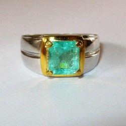 Cincin Silver Pria Ring 9US Zamrud 1.8 cts