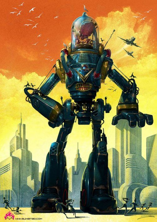 "forestwisp24c:  madalinaralucadumitrescu: ""50's type Robot"" (2009), illustratie van Su Haitao."