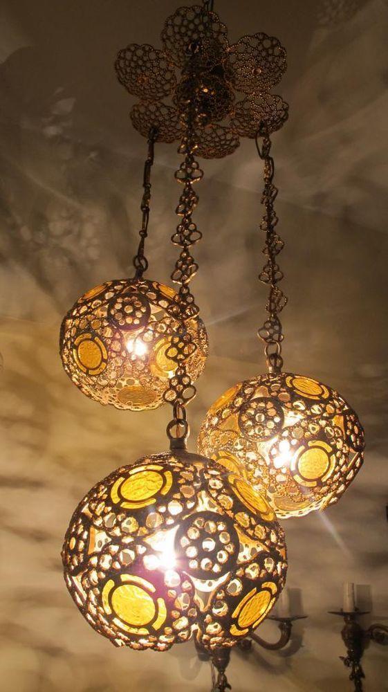 Antique Vintage Solid Brass Triple Laced Chandelier Lamp 1950s Rare