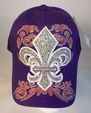 Rhinestone & Glitter Bling Fleur de Lis Mesh Baseball Hat - Purple