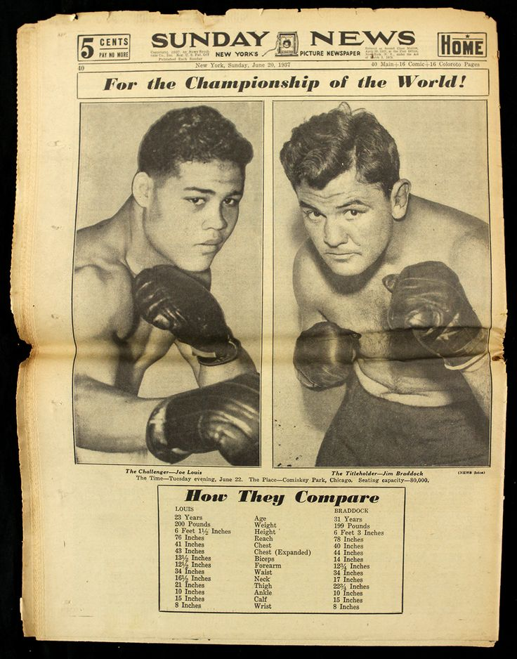Tale of the tape, Joe Louis v James J. Braddock.