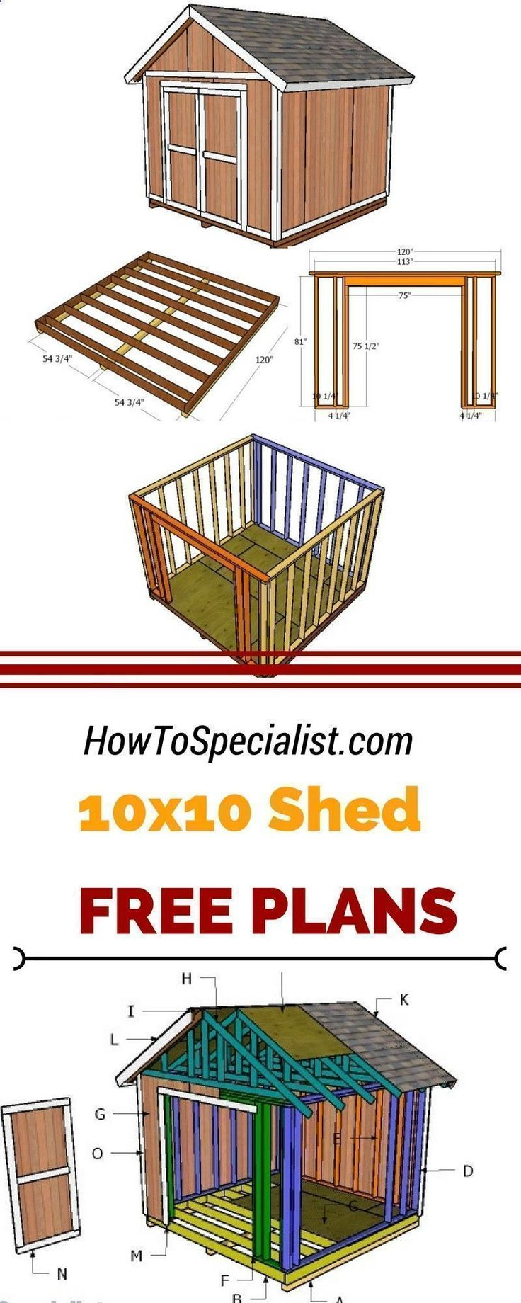 Plans of Woodworking Diy Projects - If you need more storage space in the backyard, you should check out 10x10 shed plans. Learn how to build a small garden shed using my step by step plans and instructions. howtospecialist.com #diy #shed Get A Lifetime Of Project Ideas & Inspiration! #Choosingashedplan #gardenplanningideashowtobuild #gardenshed #buildashed #shedideas #smallspacegardening