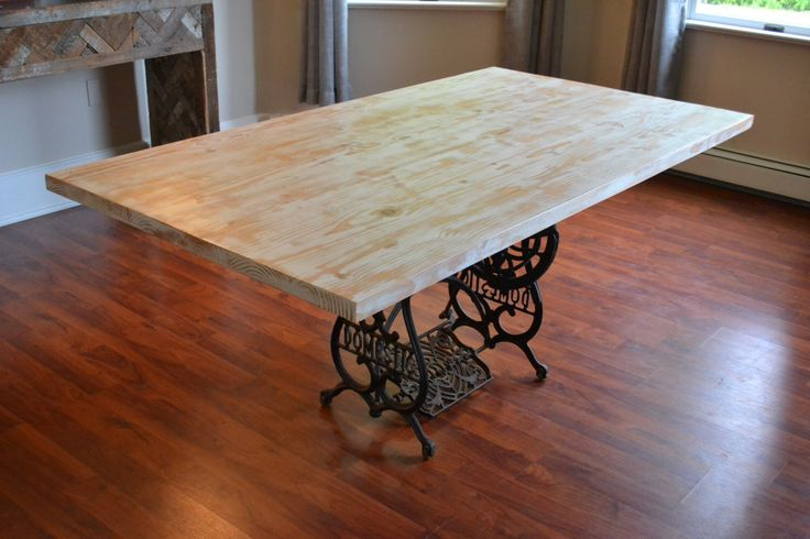 Kitchen Table With Antique Sewing Machine Base, Reclaimed Wood Table, White Washed Table, Dining Table, Free Shipping by decoratelier on Etsy https://www.etsy.com/listing/243699403/kitchen-table-with-antique-sewing