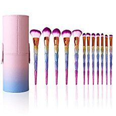 Bunte Pinselset mit 12 Stk und Professional Make up schminkpinsel mit leder Schutzhülle (Diamant)