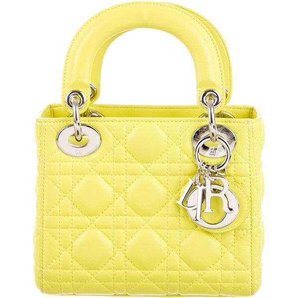 Pre-owned Christian Dior Cannage Mini Lady Dior (21.420.840 IDR) ❤ liked on Polyvore featuring bags, handbags, yellow, yellow leather purse, handbag purse, yellow purse, woven leather handbags and leather purses