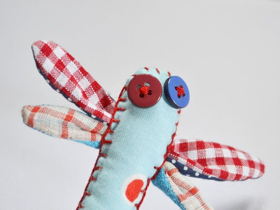 Fiber art brooch dragonfly brooch navy textile by Loulalalou