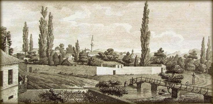 Tatar Crimea. А.де Палдо. Вид Карасубазара из дома Салих аги. 1805 год