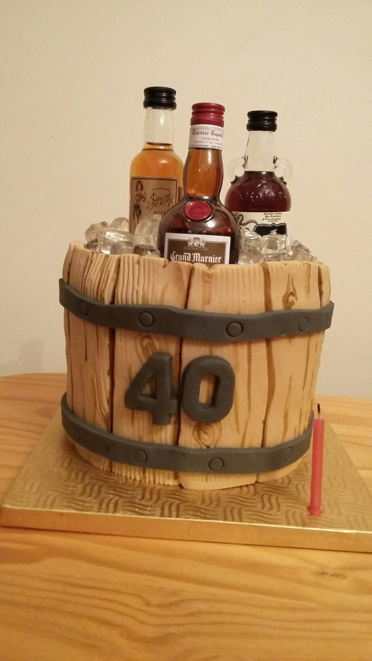 Drinks in ice bucket - 40th Birthday Cake