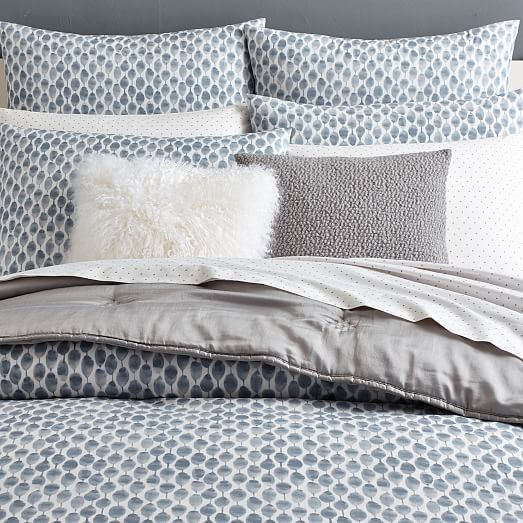 Organic Stamped Dot Duvet Cover, Full/Queen, Slate