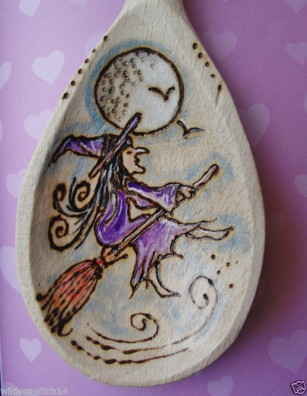 Personalised KITCHEN WITCHES WOODEN SPOON ♥ Wicca Pagan Fae FLYING PURPLE WITCH | eBay