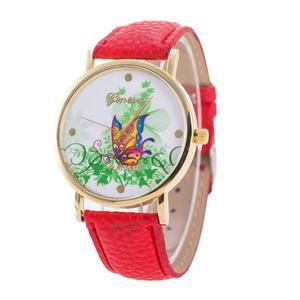 Female Quartz Watch Butterfly Pattern on dial. Water resistant and 9 color choices.