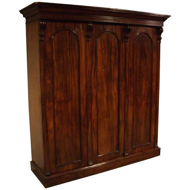 19th Century Victorian Three Door Mahogany Wardrobe