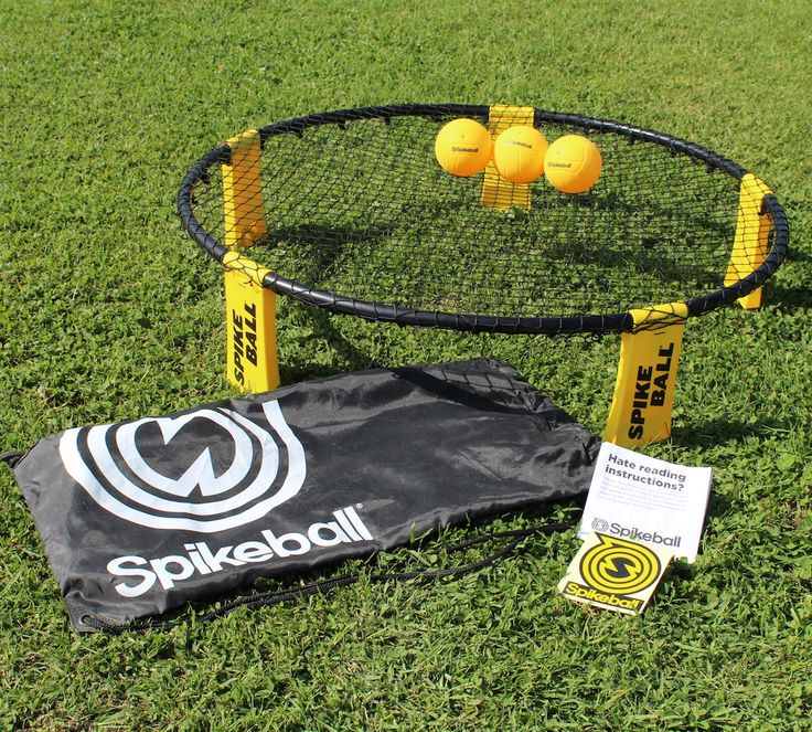 Spikeball is a portable, no-reservations-required game that's kinda, sorta like volleyball. In Spikeball, the net is more like a small trampoline that's placed between two teams of two. Just hit the ball on the net so it bounces up to your opponents who have three chances to bounce it back to you.