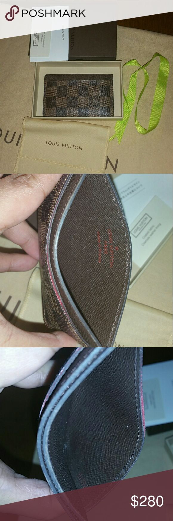 SOLD PP)AUTHENTIC Louis vuitton Credit card holder Pre-owned Louis vuitton credit card holder in great condition, inside is clean exterior is good condition, there is a rubbed in the edges shows in the picture Come dust cover and box and Lv care card. Made in France Date code no SP4019  ** NO TRADE*** Louis Vuitton Bags Wallets