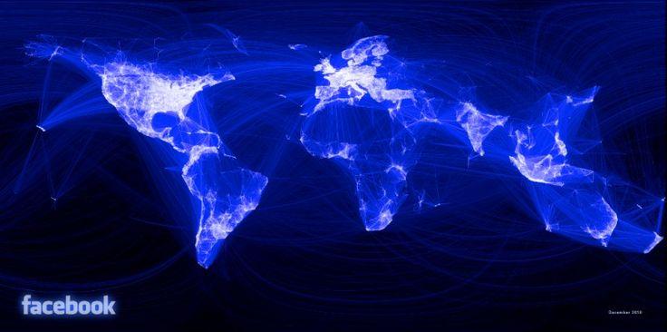 Ilustración elaborada por Facebook, que muestra las conexiones de la red social a escala global. Se aprecia la ausencia de China, país donde no está permitido el uso de Facebook, pero sí de otras redes sociales autorizadas por el gobierno chino.