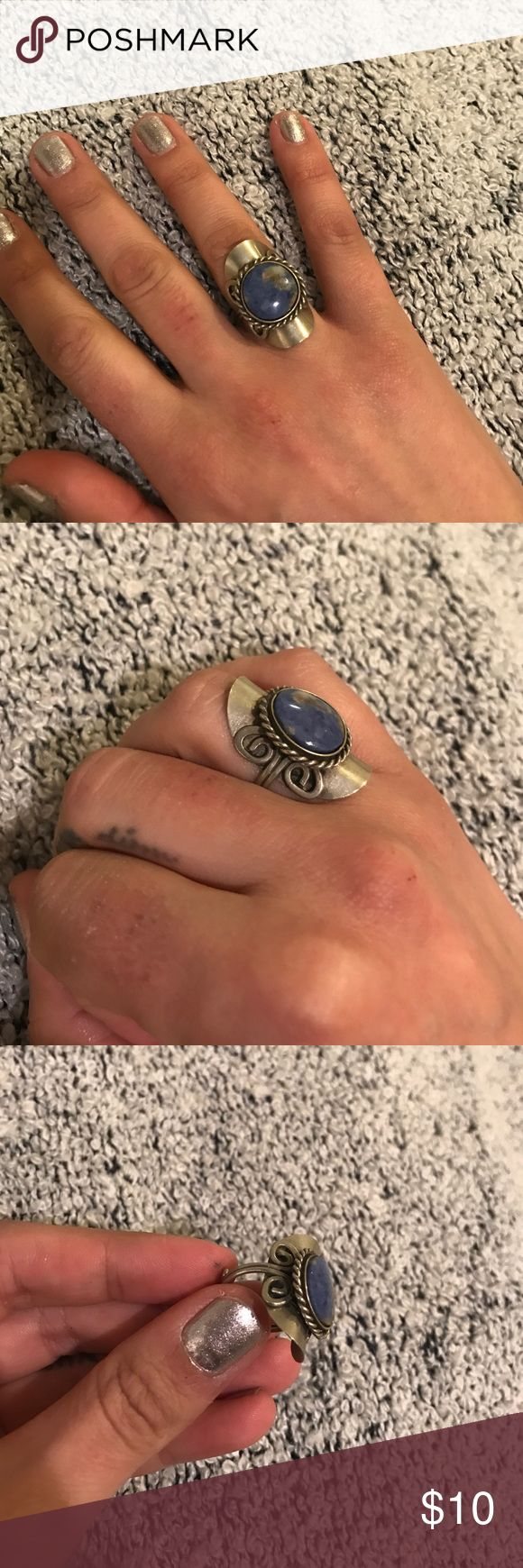 Blue Aztec Ring Purchased in Colombia - adjustable Vintage Jewelry Rings