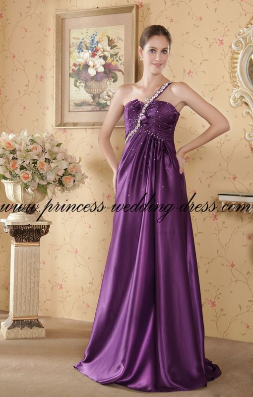 Elegant One Shoulder Purple Plus Size Maternity Wedding Dresses R