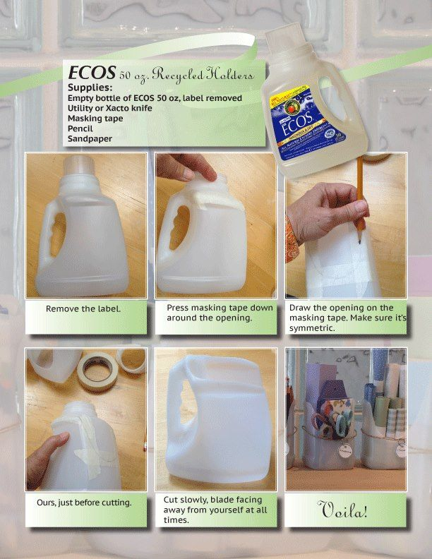 Recycled laundry detergent bottle organizers